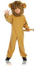 Toddler Boys Lion Costume Deluxe Jumpsuit Faux Fur Headpiece Halloween Brown 2-4