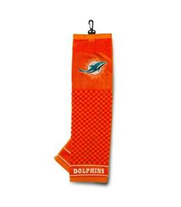 """Miami Dolphins 16""""x22"""" Embroidered Golf Towel [NEW] NFL Golfing Cotton"""