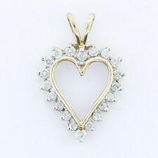 Ladies 10k Yellow Gold 1/2 Cttw Diamond Cluster Heart Love Estate Pendant