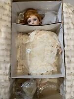 "Ashton Drake 17"" porcelain doll COLLEEN w/parasol and teddy Victorian Lace Coll."