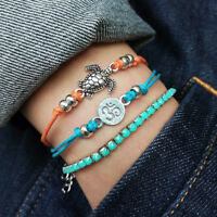 Women Bohemian Vintage Multiple Layers Turtle Rope Foot Anklets Bracelet G