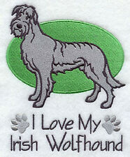IRISH WOLFHOUND  I LOVE MY SET OF 2 BATH HAND TOWELS EMBROIDERED BY LAURA