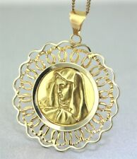 Large 18ct Yellow Gold MOTHER MARY, MADONNA PENDANT Guaranteed Genuine Gold