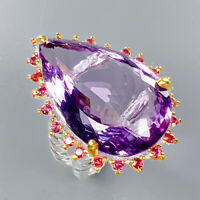Amethyst Ring Silver 925 Sterling Handmade SET35ct+ Size 8 /R133304