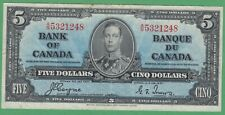 1937 Bank of Canada 5 Dollar Note - Coyne/Towers - A/S5321248 - VF