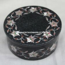 """5""""x5""""x2"""" Marble Jewelry Round Box Mother of Pearl Inlay Black Friday Gift E22"""