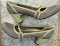 Wmn's Kenneth Cole Reaction Gray w/ Green Contrast Suede Mary Jane Pump 8M, NWOB