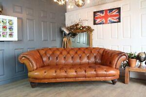 Tetrad grande oskar chesterfield brown leather sofa