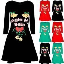 Womens Ladies Xmas Long Sleeve Jingle My Bells Tie Ribbon Swing Flare Mini Dress