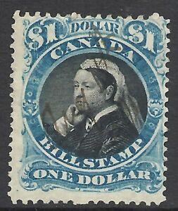 CANADA  $1 BILL STAMP 1868 BLUE & BLACK QUEEN VICTORIA ISSUE
