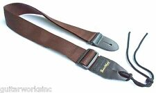 Guitar Strap For Acoustic Electric & Bass & Mandolin BROWN Nylon Leather Ends