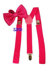 NEW Awesome Unisex Clip-on Adjustable Braces- HOT PINK Bowtie And Suspenders Set