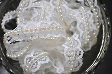 1M White Vintage Style Lace  Ivory Pearls Ribbon Trim Wedding Sewing Craft