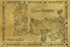 GAME OF THRONES -ANTIQUE MAP 24X36 POSTER TV SERIES JOHN SNOW FILM WALL ART OLD!