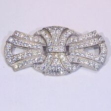 "Vintage c. 1980s Art Deco Revival large pave rhinestone pin/brooch, 2.5"" wide"