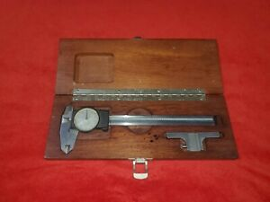 "Brown & Sharpe 599-579-2 Dial Caliper w/ Wood Case Machinist Tool .001"" Swiss"