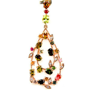 NATURAL AAA MULTI COLOR TOURMALINE & WHITE CZ STERLING 925SILVER CLUSTER PENDANT