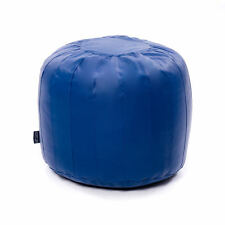 Blue Faux Leather Moroccan Bean Bag Pouffe Foot Stool Piped Beanbag Footstool