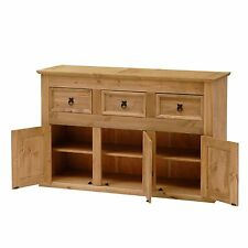 Merveilleux Solid Wood Sideboard 3 Cupboards Drawers Home Large Wooden Storage Cabinet  Unit