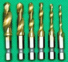 Drill/Tap Set 6 pc Hexagon Shank Twist Drill & Tap In 1. M3, M4, M5, M6, M8, M10