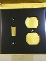 (1 pc) Mulberry 2-Gang Toggle/Duplex Switch Wall Plate Brown Matte Bakelite