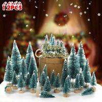 12x Mini Christmas Tree Pine Tabletop Snow Frost Ornaments Table Decor Xmas Gift