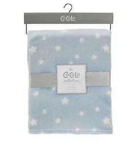Baby Blanket Blue & White Stars Soft Cot Pram Nursery Newborn Blanket