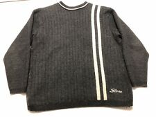 Vintage Stone Island Striped Spell Out Sweater Size L Gray