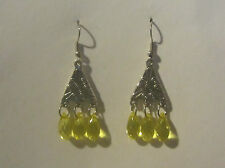 KLIMT STYLE CHANDELIER EARRINGS WITH YELLOW ACRYLIC DROPS SILVER PLATED
