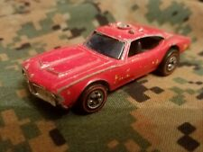 Vintage 1969 Mattel Hot Wheels Redline Red Oldsmobile Cutlass Fire Dept D