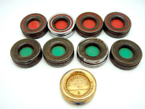 Full Set 9 Vintage Metal Shuffleboard Pucks Discs Indoor Bar Game