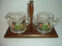 Westmoreland Glass Country Floral Flowers Cream and Sugar set with Wood Tray