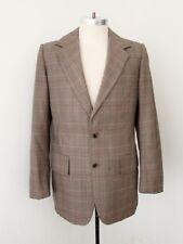 VGC Vtg 70s SUPERFLY Brown Rust Gold Plaid Disco Pimp Blazer Vegas Jacket 40L
