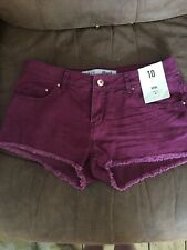 BNWT Primark Size 10 Red Hot Pant Denim Shorts (A16)
