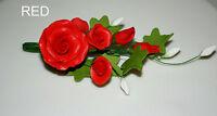 Tea Rose Spray, Small Red, Sugar Flowers, Cake Topper, Wedding, Christmas.