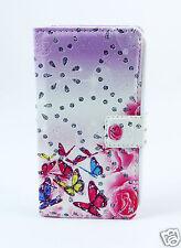 LG H502 magna Case Flip Tasche Hülle Blumen Schmetterlinge Strass