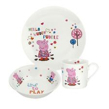 Portmeirion Peppa Pig 3 Piece Childs China Plate Bowl Mug Dining Set Gift Boxed