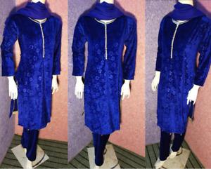 boutique design salwar kameez  Velvet Suit  Full  self printed NEW for 2021 3pc