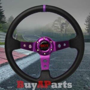 Universal Black/Purple 350mm Drifting PVC Leather 6bolt Deep Dish Steering Wheel