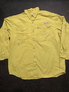 Columbia PFG Yellow Long Sleeve Fishing/Outdoors Shirt Men's XXL