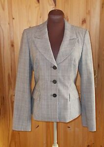 PLANET brown beige check tartan WOOL single breasted suit jacket blazer 8 34