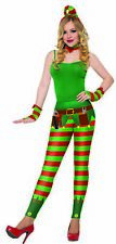 Christmas Elf Leggings Women's Bright & Colorful Xmas Red Green Striped Belt OS