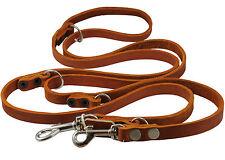 "Genuine Leather Dog Leash Schutzhund 6-Way European 49""up to 94"" long 5/8"" wide"