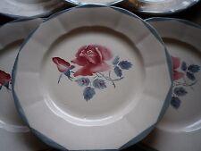 """6 Assiettes Plates Céramique Vintage de DIGOIN """"Roses Rouges"""""""