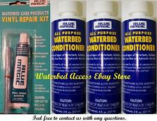 3 Bottles of BLUE MAGIC All Purpose Waterbed Conditioner & Vinyl Repair kit