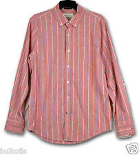NWT Small St. John's Bay Men's Long Sleeve 100% Cotton Shirt Pomodoro Pin Stripe