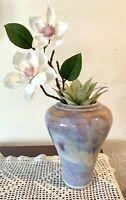 "Vase 7"" Vintage Studio Art Pottery Vase Signed  HUNTLEY '89 Boho Decor"