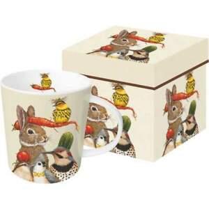 New PPD Gift Boxed Mug Bone China13.5 oz Vicki Sawyer HARVEST PARTY Birds Beige