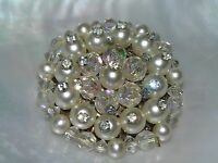 401772042532 Vintage Twisted 4 Round Crystal White Brooch  Pin 925 Sterling Bb 194