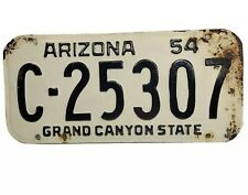 Vintage  Arizona License Plate 1954 C-25307 Grand Canyon State